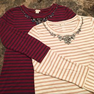 J. Crew Factory Lot of 2 Jeweled Striped Tee's
